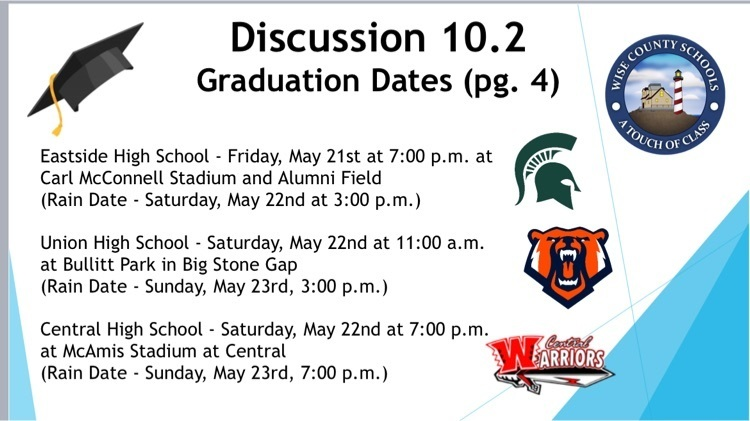 image of a slide with graduation dates and times